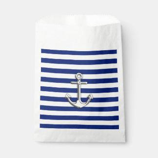 Chrome Like Anchor Nautical Navy Blue Stripes Favor Bags