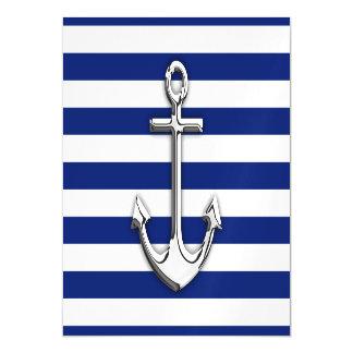 Chrome Like Anchor Nautical Navy Blue Stripes Magnetic Invitations
