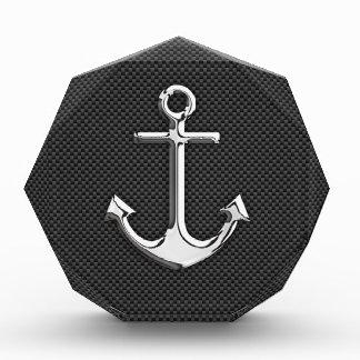 Chrome Like Anchor on Carbon Fiber Acrylic Award