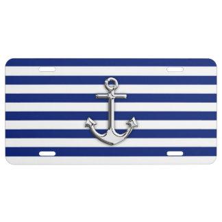 Chrome Like Anchor on Navy Blue Stripes Decor License Plate