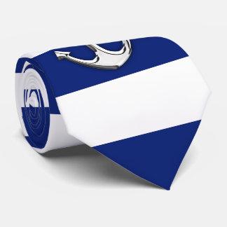 Chrome Like Anchor on Navy Blue Stripes Tie