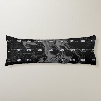 Chrome like Aquarius Zodiac Sign on Hevelius Body Pillow