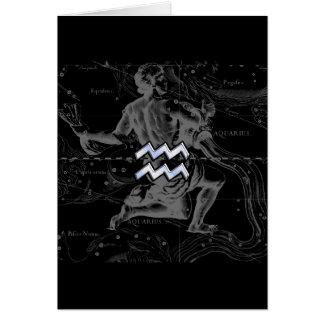 Chrome like Aquarius Zodiac Sign on Hevelius Card