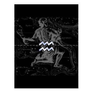 Chrome like Aquarius Zodiac Sign on Hevelius Postcard