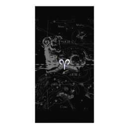Chrome like Aries Zodiac Sign Vintage Hevelius Card