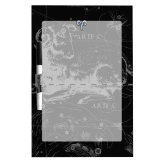 Chrome like Aries Zodiac Symbol on Hevelius 1690 Dry Erase Board