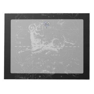 Chrome like Aries Zodiac Symbol on Hevelius 1690 Notepad
