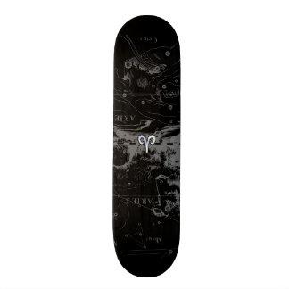 Chrome like Aries Zodiac Symbol on Hevelius 1690 Skateboard Deck