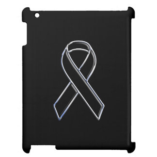 Chrome Like Black Ribbon Awareness iPad Cases