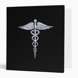 Chrome Like Caduceus Medical Symbol Vinyl Binder