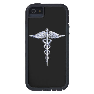 Chrome Like Caduceus Medical Symbol Black Decor Case For iPhone SE/5/5s