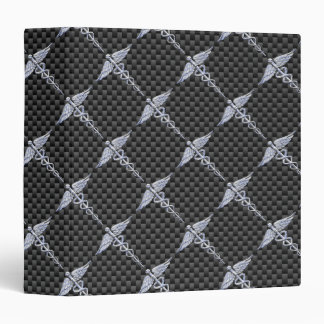 Chrome Like Caduceus Medical Symbol Carbon Fiber Binder