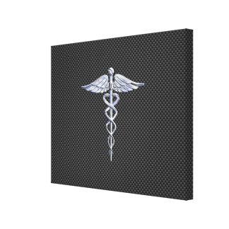 Chrome Like Caduceus Medical Symbol Carbon Fiber Canvas Print