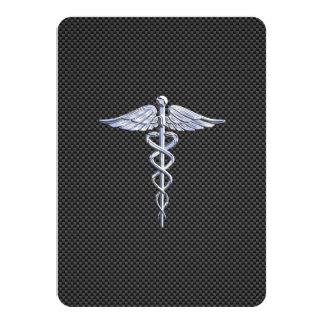 Chrome Like Caduceus Medical Symbol Carbon Fiber Card