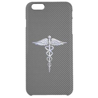 Chrome Like Caduceus Medical Symbol Carbon Fiber Clear iPhone 6 Plus Case