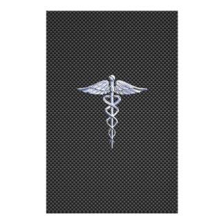 Chrome Like Caduceus Medical Symbol Carbon Fiber Flyer