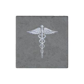 Chrome Like Caduceus Medical Symbol Carbon Fiber Stone Magnet