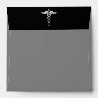 Chrome Like Caduceus Medical Symbol Envelope