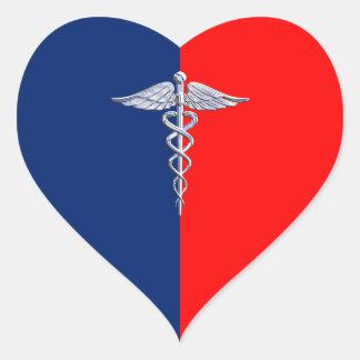 Chrome Like Caduceus Medical Symbol League Decor Heart Sticker