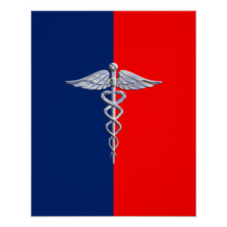 Chrome Like Caduceus Medical Symbol League Poster