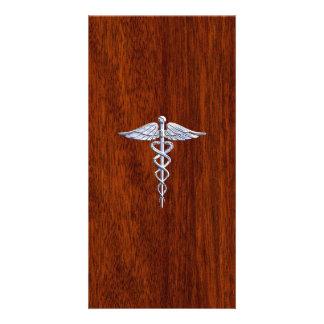 Chrome Like Caduceus Medical Symbol Mahogany Brown Card