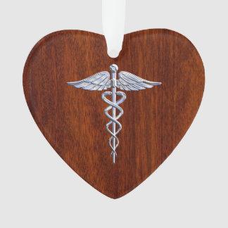 Chrome Like Caduceus Medical Symbol Mahogany Print