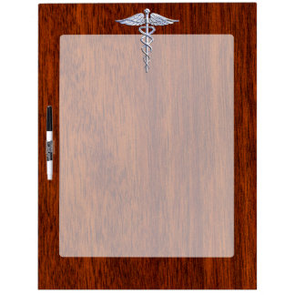 Chrome Like Caduceus Medical Symbol Mahogany Print Dry Erase White Board