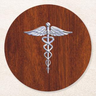Chrome Like Caduceus Medical Symbol Mahogany Print Round Paper Coaster