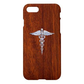 Chrome Like Caduceus Medical Symbol Mahogany Style iPhone 7 Case