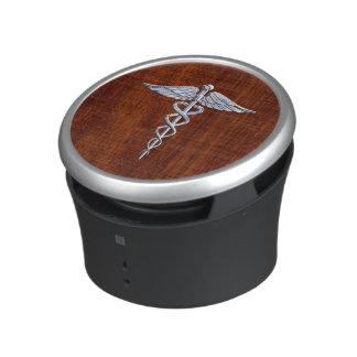 Chrome Like Caduceus Medical Symbol Mahogany Style Speaker