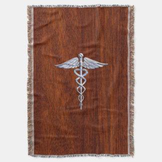 Chrome Like Caduceus Medical Symbol Mahogany Style Throw