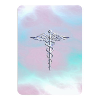 Chrome Like Caduceus Medical Symbol Mother Pearl Card