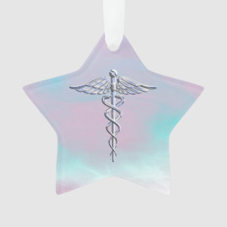 Chrome Like Caduceus Medical Symbol Mother Pearl D Ornament