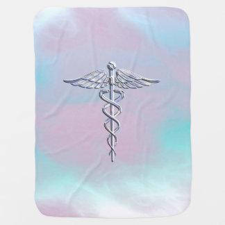Chrome Like Caduceus Medical Symbol Mother Pearl D Swaddle Blanket