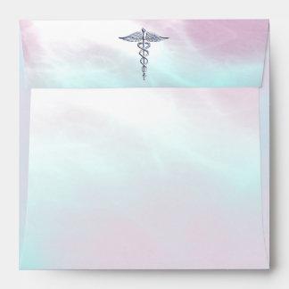 Chrome Like Caduceus Medical Symbol Mother Pearl Envelope