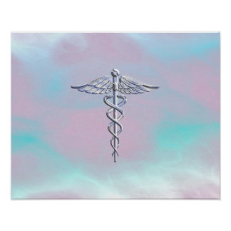 Chrome Like Caduceus Medical Symbol Mother Pearl Poster