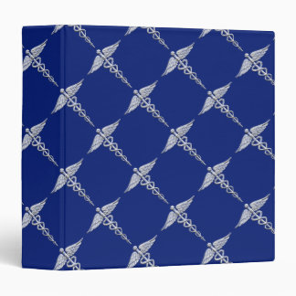 Chrome Like Caduceus Medical Symbol Navy Blue Deco Binder