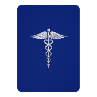 Chrome Like Caduceus Medical Symbol Navy Blue Deco Card