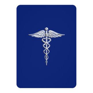 Chrome Like Caduceus Medical Symbol Navy Blue Deco Card
