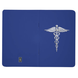 Chrome Like Caduceus Medical Symbol Navy Blue Deco Journal