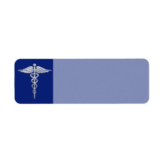 Chrome Like Caduceus Medical Symbol Navy Blue Deco Label