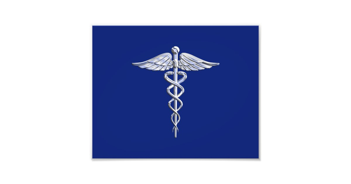 Chrome Like Caduceus Medical Symbol Navy Blue Deco Photo Print Zazzle Com