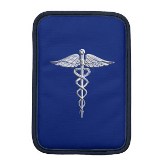 Chrome Like Caduceus Medical Symbol on Blue Decor iPad Mini Sleeve