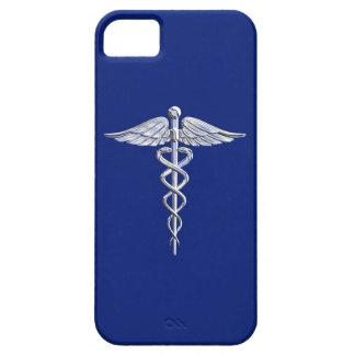Chrome Like Caduceus Medical Symbol on Navy Blue iPhone 5 Cases