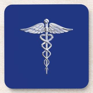Chrome Like Caduceus Medical Symbol on Navy Blue Coaster