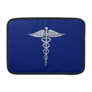 Chrome Like Caduceus Medical Symbol on Navy Blue Sleeves For MacBook Air
