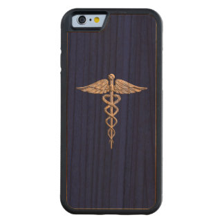 Chrome Like Caduceus Medical Symbol on Navy Blue Carved® Cherry iPhone 6 Bumper