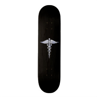 Chrome Like Caduceus Medical Symbol Skateboard Deck