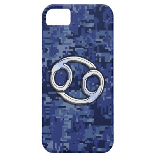 Chrome Like Cancer Sign on Blue Digital Camo iPhone SE/5/5s Case