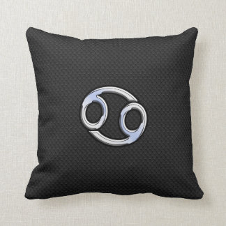 Chrome Like Cancer Zodiac Sign on Snake Skin Style Throw Pillow